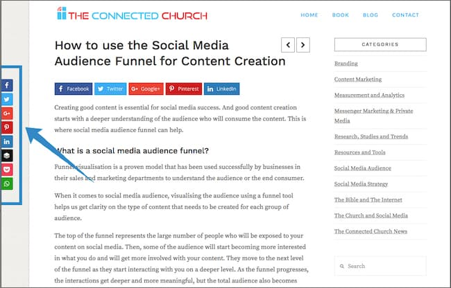 Church Website Social Share Bar Sample 1