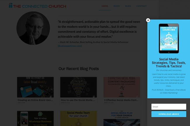 Church website email subscription option demo