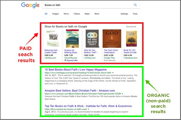 Google search results page SERP